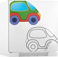 Vektör Oyuncak Araba Boyama Kitabı çıkartması Pixerstick Pixers