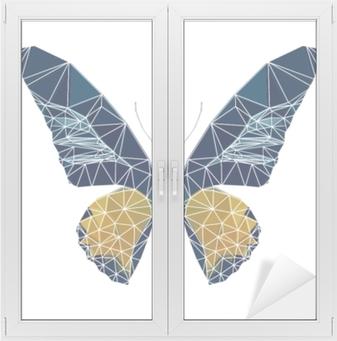 Cam ve Pencere Çıkartması Beyaz çizgi ile çokgen kelebek, Poli düşük hayvan