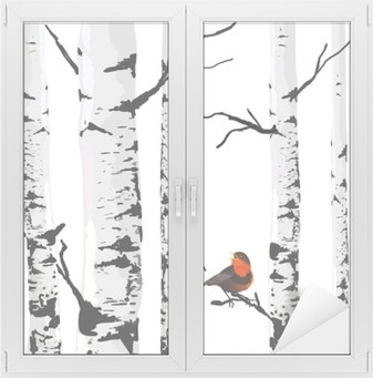 Cam ve Pencere Çıkartması Birches Kuş, düzenlenebilir öğelere çizim vektör.