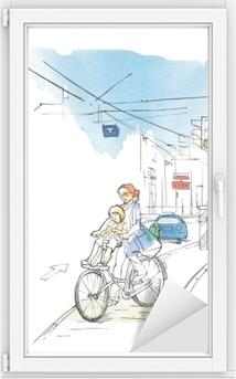 Bisiklet Araba Ve Trafik Lambasi Uzerinde Cocugu Olan Bir Kadinla