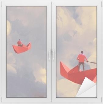 Bulutlu Gökyüzü Resimde Boyama Yüzen Origami Kırmızı Kağıt Tekne