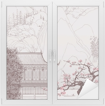 Cam ve Pencere Çıkartması Çin peyzaj