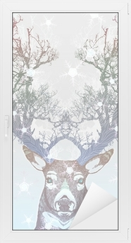Cam ve Pencere Çıkartması Dondurulmuş ağaç boynuz geyik