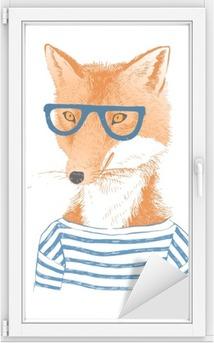 Cam ve Pencere Çıkartması El hipster tarzı tilki giyinmiş çizilir