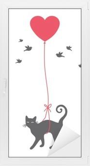 Cam ve Pencere Çıkartması Kalp balon ile kedi, vektör
