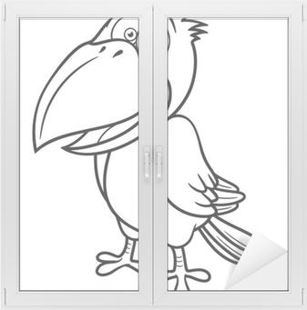 Karikatür Karga Vector Illustration Boyama Kitabı Iki Parçalı