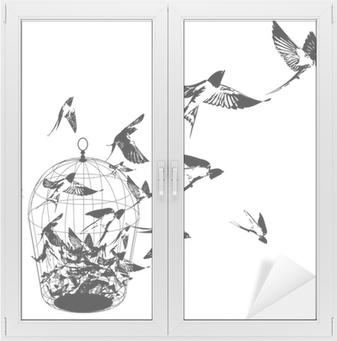 Cam ve Pencere Çıkartması Kuşlar