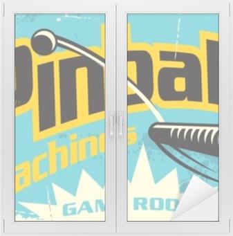 Cam ve Pencere Çıkartması Langırt makineleri oyun odası retro işareti reklam. eğlence flipper oyunları bağbozumu posteri tasarımı.