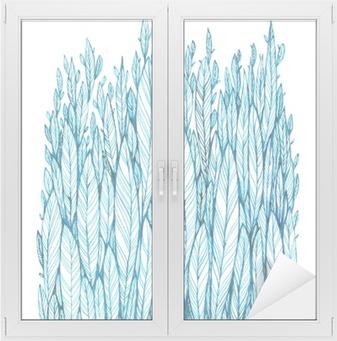Cam ve Pencere Çıkartması Mavi yapraklar, çimen, tüy, suluboya, mürekkep çizim desen