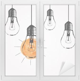 Cam ve Pencere Çıkartması Metin için ampulleri ve yer asılı Vektör illüstrasyon. Modern yenilikçi kroki tarzı. Benzersiz bir fikir ve yaratıcı düşünme kavramı.