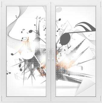 Cam ve Pencere Çıkartması Notları ile soyut müzik arka plan