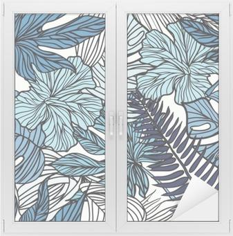 Cam ve Pencere Çıkartması Palmiye yeşil yaprakları ile tropik egzotik çiçekler ve bitkiler.