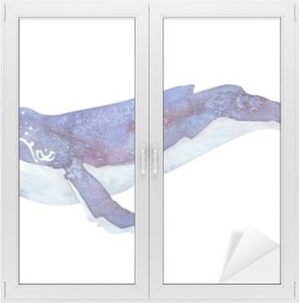 Cam ve Pencere Çıkartması Suluboya balina