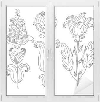 Vektör Güzel Siyah Beyaz Kontur çiçek Boyama Kitabı Yetişkinler Için çiçek Tasarım Elementcoloring Sayfa