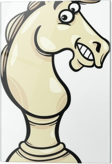 At Satranç Piyon Karikatür Illüstrasyon çıkartması Pixerstick