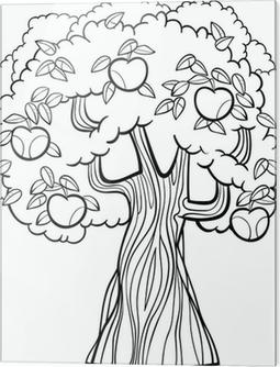 Boyama Kitabı Için Elma Ağacı Karikatür Poster Pixers Haydi