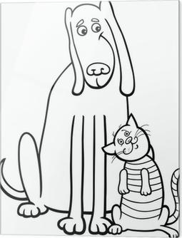 Boyama Kitabı Için Köpek Ve Kedi Karikatür Tuval Baskı Pixers