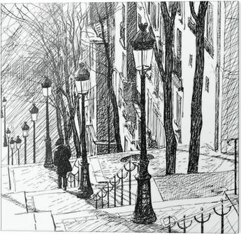 Cama baskı Paris'teki Montmartre