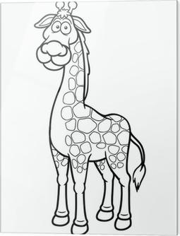 Zürafa Karikatür Vektör çizim Boyama Kitabı Tuval Baskı Pixers