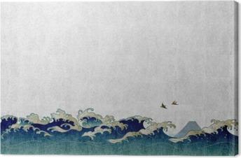 Canvas 和風 背景 素材 大 波 と 渡 り 鳥