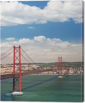 Canvas 25 april Suspension Bridge in Lissabon, Portugal, Eutopean tr