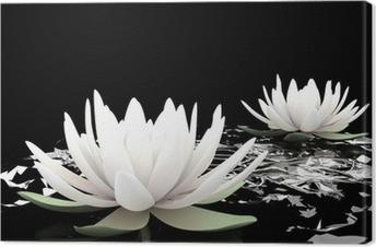 Canvas 3d lotus op het water