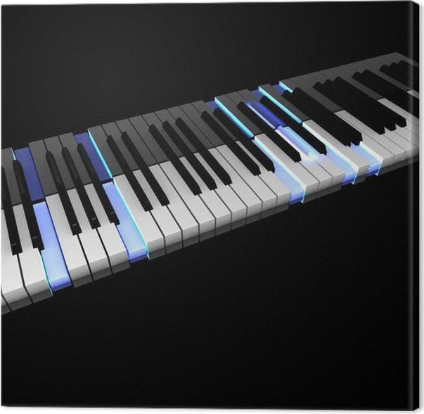 Canvas 3D piano toetsenbord met verlichting geduwd toetsen • Pixers ...