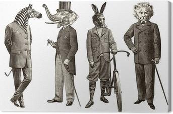 Canvas 4 dieren mannen
