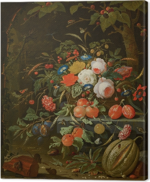 Canvas Abraham Mignon - Flowers and Fruit - Reproducties