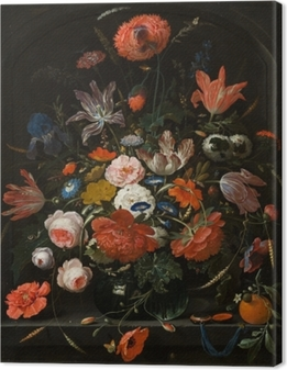Canvas Abraham Mignon - Flowers in a Glass Vase