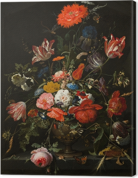 Canvas Abraham Mignon - Flowers in a Metal Vase - Reproducties