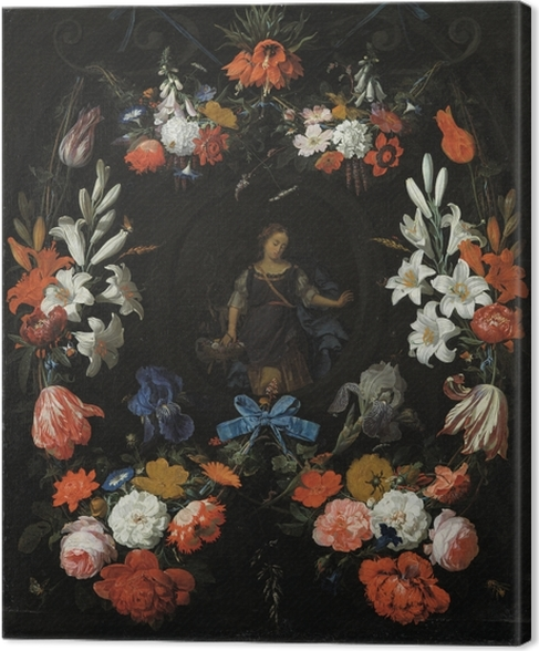 Canvas Abraham Mignon - Garland of Flowers - Reproducties