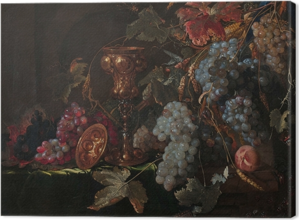 Canvas Abraham Mignon - Grape and silverware cup on an entablature - Reproducties