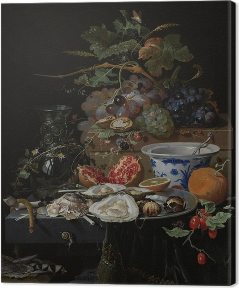 Canvas Abraham Mignon - Still Life with Flowers, Oysters and a Porcelain Bow - Reproducties