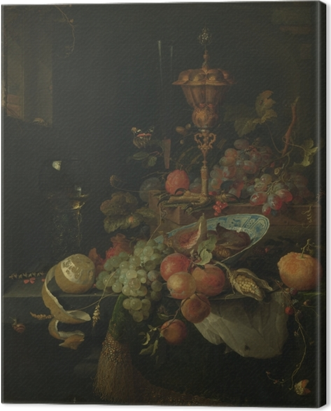 Canvas Abraham Mignon - Still life with fruit and a bowl on a roosters leg - Reproducties