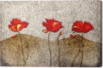 Canvas Abstract bloemolieverfschilderij
