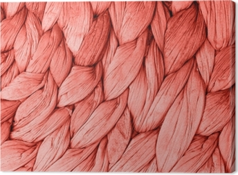 Canvas Abstract geweven mat textuur achtergrond levende koraal kleur. trendy conceptkleur van het jaar.