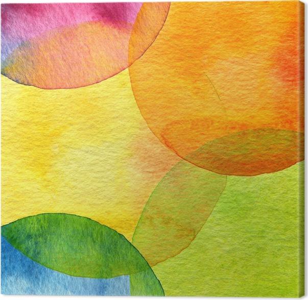 Canvas Abstracte Aquarel Cirkel Geschilderde Achtergrond