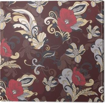 Canvas Abstracte bloemen naadloze patroon, vector floral achtergrond, cartoon handgetekende, prachtige elegante sieraad. kleurrijke knop, bloemblaadjes, stengel, bladeren en krullen op een donkerbruine achtergrond. voor stofontwerp