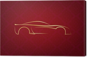 Canvas Abstracte kalligrafische auto logo op rode achtergrond