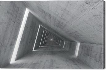 Canvas Abstracte lege betonnen interieur, 3d renderen van hellende tunnel