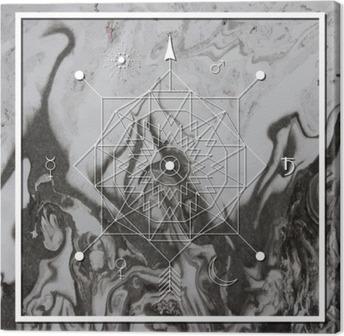 Canvas Abstracte mystieke meetkunde, lineaire alchemie, geheim, filosofische teken.