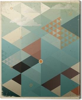 Canvas Abstracte Retro Geometrische Achtergrond met wolken