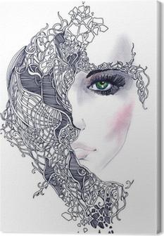 Canvas Abstracte vrouw gezicht