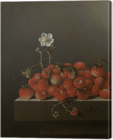 Canvas Adriaen Coorte - Still Life with Wild Strawberries - Reproducties