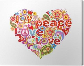 Canvas Afdrukken met kleurrijke hippie bloemen hart