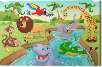 Canvas Afrikaanse dieren in de jungle