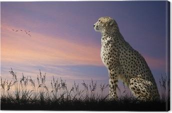 Canvas Afrikaanse safari concept beeld van cheetah uitkijkend over savannn