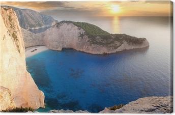 Canvas Amazing beach Navagio tegen zonsondergang, Zakynthos, Griekenland