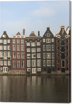 Canvas Amsterdamse grachtenpanden
